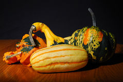 Multicolored fancy winter squash. On wood table, black background Royalty Free Stock Photos