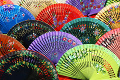 Multicolored fans on sale in Seville, Spain Stock Photos