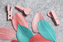 Multicolored feathers lie on a light gray felt background. Among them are several wooden clothespins with hearts. Stock Images