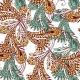 Multicolored feathers seamless pattern in oriental style. Decora Stock Photos