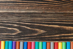 Multicolored Felt Pens. Multicolored Felt Tips Pens Background with Copy-space. Education Concept Stock Photography