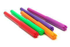 Multicolored Felt Tip Pens. A set of multicolored felt tip pens isolated on a white background stock image