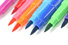 Multicolored Felt Tip Pens on White Background. Multicolored felt tip pens on a white background with copy space stock photos