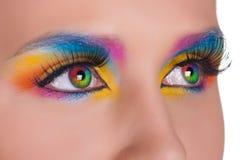 Multicolored female eyes. stock images