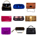 Multicolored female purses-3 Royalty Free Stock Photos