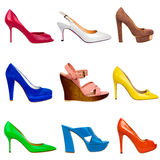 Multicolored female shoes-21 Stock Photos