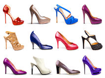 Multicolored female shoes Royalty Free Stock Images