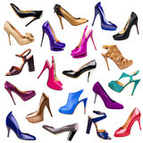 Multicolored female shoes Stock Photography