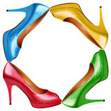 Multicolored female shoes Royalty Free Stock Photo