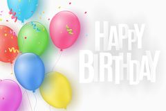 Multicolored festive balloons on a white background. Happy Birthday. Explosion of confetti. Greeting card. Paper 3d inscription. C. Haotic white letters. Vector Royalty Free Stock Photo