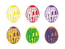 Happy Easter Egg lettering. Vector illustration. Multicolored festive eggs on a white background. Happy Easter Egg lettering. Vector illustration Royalty Free Stock Images