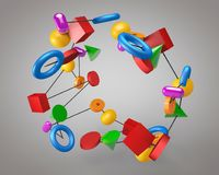 3d illustration of multicolored figures on a gray background. Multicolored figures connected by a thread rotate in the air against a gray background Stock Image