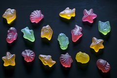 Multicolored figurines of marmalade in the form of sea inhabitants. On a dark background Stock Image