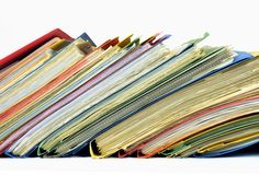 Multicolored files and binders Royalty Free Stock Photo
