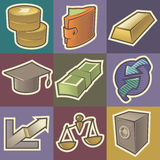 Multicolored finance icons. Set of multicolored finance retro icons. Hatched in style of engraving. Vector illustration Stock Photo