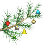 Multicolored fir-tree toys on a fir-tree branch. It is isolated, 3d Stock Photography