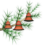 Multicolored fir-tree toys on a fir-tree branch. It is isolated, 3d Royalty Free Stock Photo