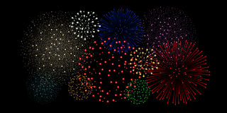 Multicolored fireworks  on black background. Vector illustration Royalty Free Stock Images