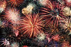 Multicolored fireworks horizontal Stock Image