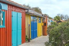 Multicolored fishermen huts on the Oleron isle in the Atlantic ocean. Multicolored fishermen`s huts on the Oleron isle in the Atlantic ocean stock photos