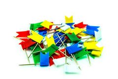 Multicolored flag pins on white background Stock Image