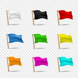 Multicolored flags icon set Royalty Free Stock Photo
