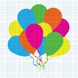 Multicolored flat balloons on a blue squared grid paper