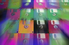 Multicolored floppy disc 3.5 for old computers. Aligned as background Royalty Free Stock Photography