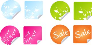 Multicolored floral badges. Set of multicolored round and rectangle labels Royalty Free Stock Photos