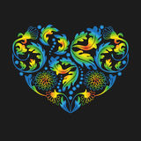 Multicolored Floral Heart on Black Background,  illustrati. Hand drawn multicolored floral items in a shape of heart on black background. EPS 10  illustration Stock Photos