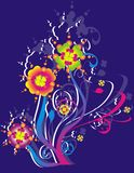 Multicolored floral illustration Stock Images