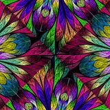 Multicolored floral pattern in stained-glass window style. You c Stock Photography