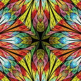 Multicolored floral pattern in stained-glass window style.  Royalty Free Stock Images