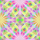 Multicolored floral pattern in stained-glass window style.  Stock Images
