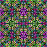 Multicolored floral pattern in stained-glass window style. Royalty Free Stock Image