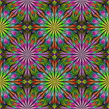 Multicolored floral pattern in stained-glass window style.  Stock Photos