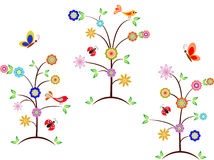 Multicolored Flower Trees, Birds, Butterflies, Ladybugs Royalty Free Stock Image