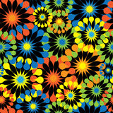 Multicolored flowers on black seamless pattern Royalty Free Stock Photography