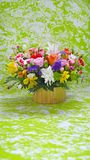 Multicolored Flowers Bouquet On Green, Marble Stylised Background Stock Images