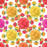 Multicolored Flowers Collage Seamless Pattern. Digital photo collage and manipulation technique nature floral collage motif seamless pattern mosaic in Stock Photography