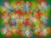 Multicolored flowers on a green background. Bright translucent multicolored flowers on a green background Royalty Free Stock Photo