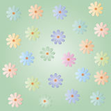 Multicolored flowers on a light green background. Royalty Free Stock Image