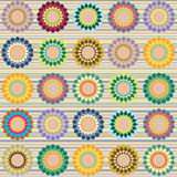 Multicolored flowers pattern. Multicolored abstract pattern on line background stock illustration