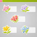 Multicolored flowers with tags for message. Set of multicolored flowers with tags for message. Vector illustration Stock Images