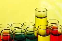 Multicolored fluid in test tubes Royalty Free Stock Images