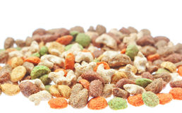 Multicolored food for cats and dogs. Royalty Free Stock Photography