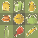 Multicolored food icons Royalty Free Stock Image