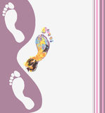Multicolored footprints Stock Images