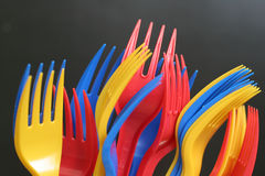 Multicolored forks. Over black background Royalty Free Stock Photography
