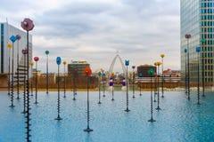 Multicolored fountain in the Esplanade De La Stock Photos